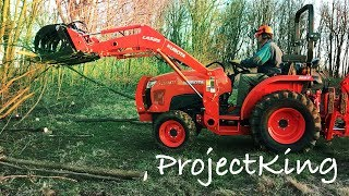 Cleaning Up Wood the Easy Way!  Kubota L3301Tractor and Wicked Grapple