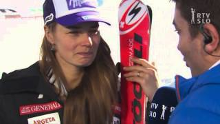 TINA MAZE AFTER WINNING GOLD MEDAL IN DOWNHILL IN WC VAIL 2015