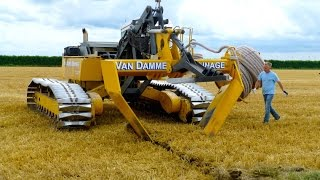 Inter-Drain GP-Series V plow | laying trenchless field drainage | Van Damme Drainage(Inter-Drain GP-Series trenchless drainage V plough working in Holland installing perforated pipe field drainage in wheat stubble. The machine is equipped ..., 2015-01-17T18:45:08.000Z)