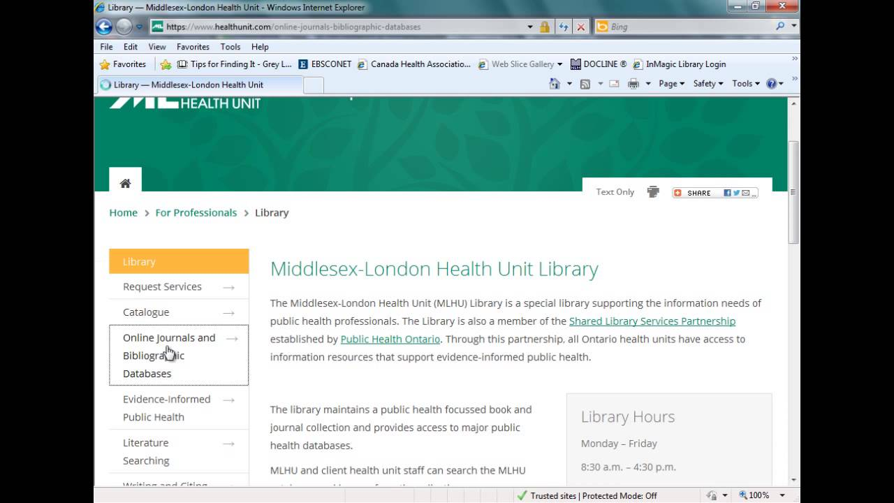 middlesex london health unit library
