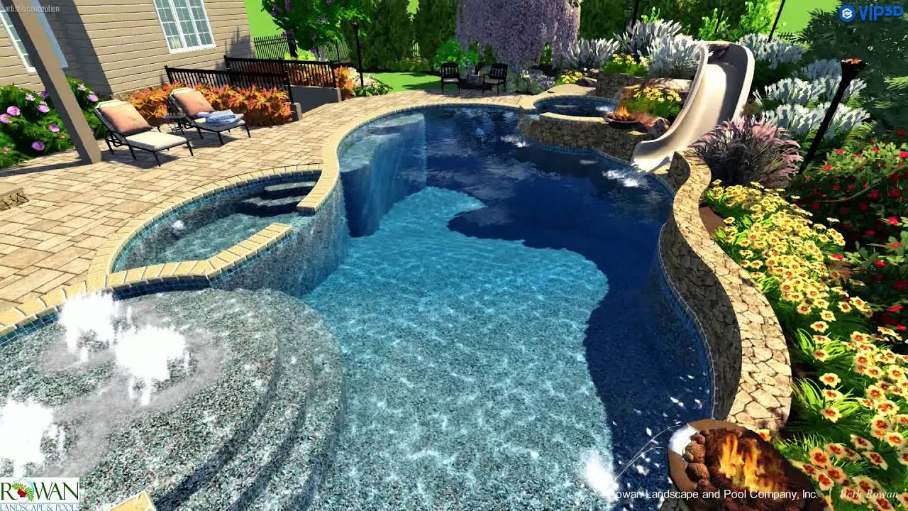 swimming pool and spa custom slide outdoor kitchen pool house