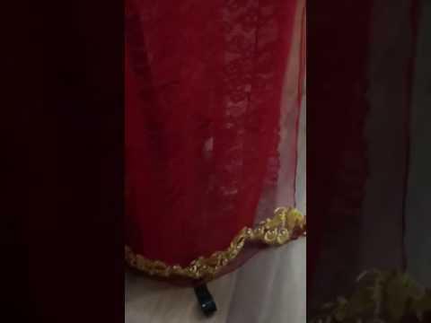 Áo dài cô dâu lưới đỏ hoa vàng