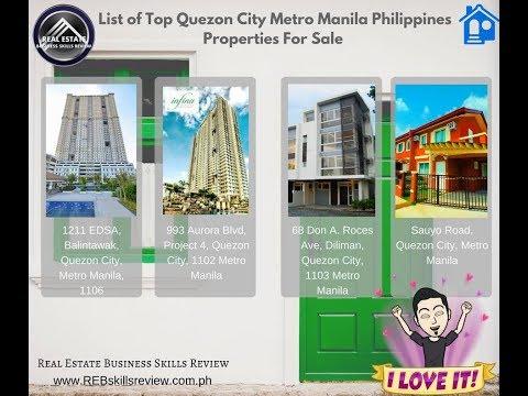 List of Top Quezon City Metro Manila Philippines Properties For Sale