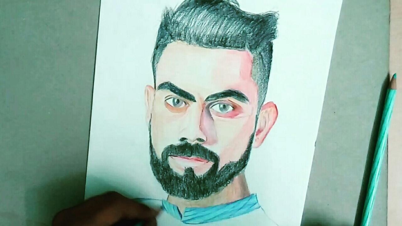 How to draw portrait of virat kohli with pencil colours celeb portrait 1