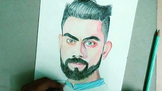 How to draw portrait of Virat Kohli with pencil colours-#celeb portrait 1