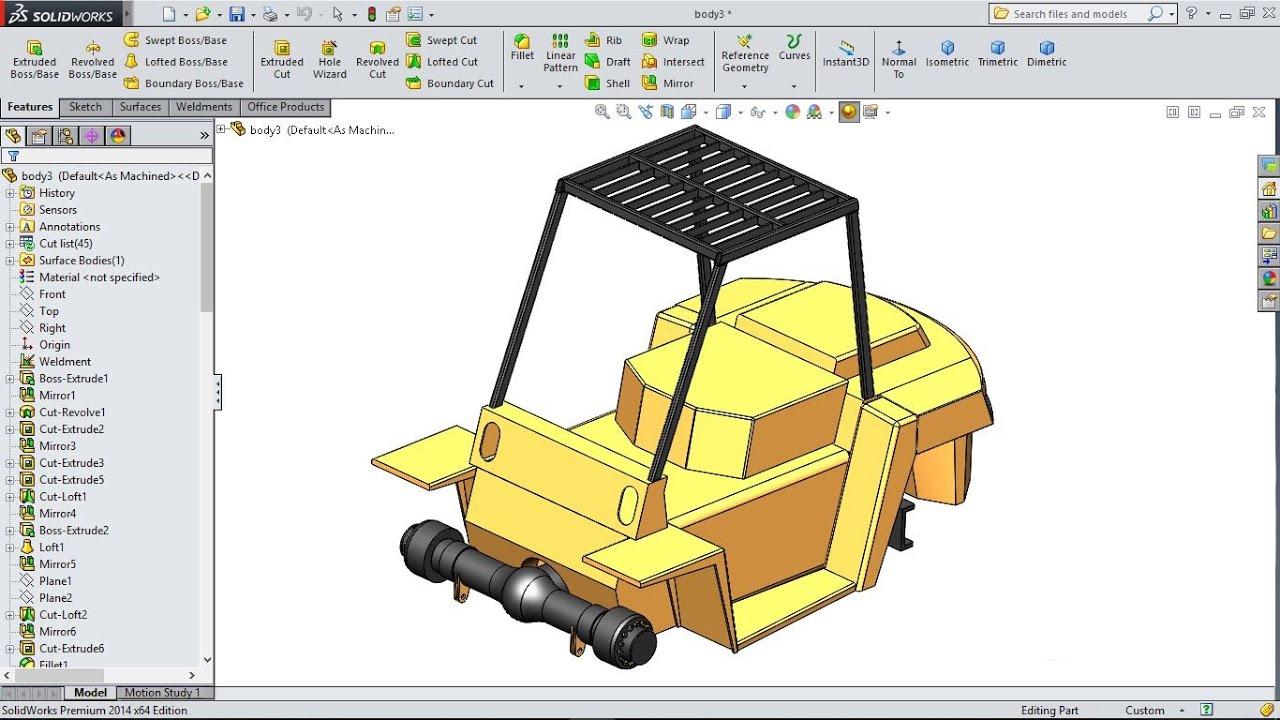 SolidWorks Tutorial | Forklift 20. Frame Mounting - YouTube