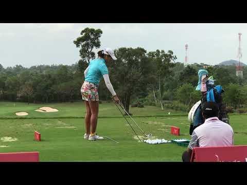 Honda LPGA Thailand 2018 Saranporn Langkulgasettrin golf swing at Siam Country Club Old Course