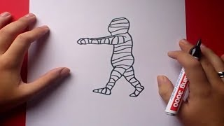 Como dibujar una momia paso a paso | How to draw a mummy