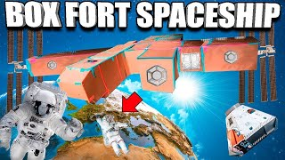 BOX FORT SPACESHIP 24 HOUR CHALLENGE GONE WRONG!! 📦🚀Aliens, Spacestation & More!