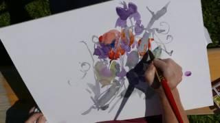 Monika Reiter, Aquarell Garten Blumen, Wicken