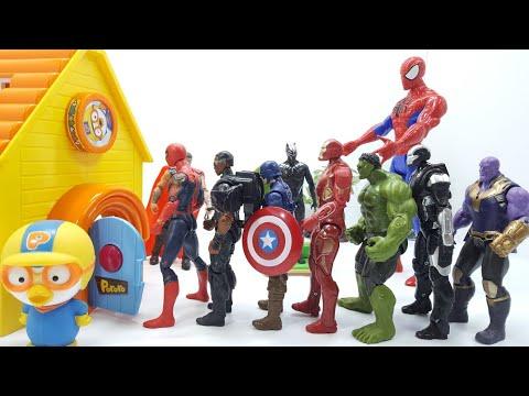 뽀로로집에 어벤져스장난감 친구들이 들어가요 Avengers toy friends in Pororo house come in.