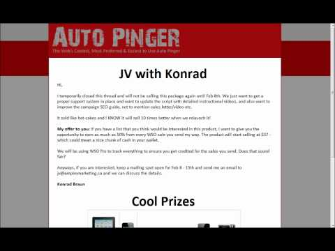 JV info on WSO Launch of Auto Pinger
