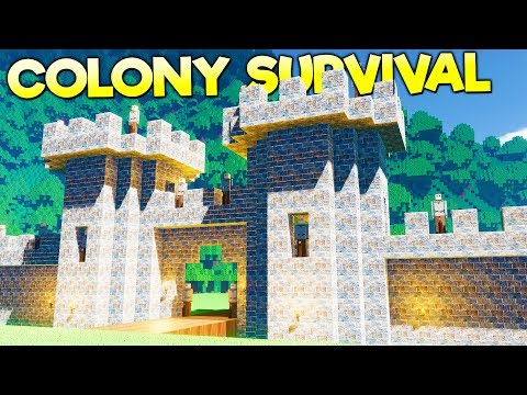 MEDIEVAL MOAT, TOWER, AND DRAWBRIDGE PROTECTS AGAINST MONSTER HORDE! - Colony Survival Gameplay