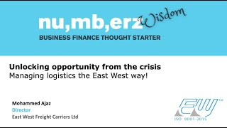 Managing logistics business during a crisis : Perspectives. Director, East West Freight Carriers Ltd