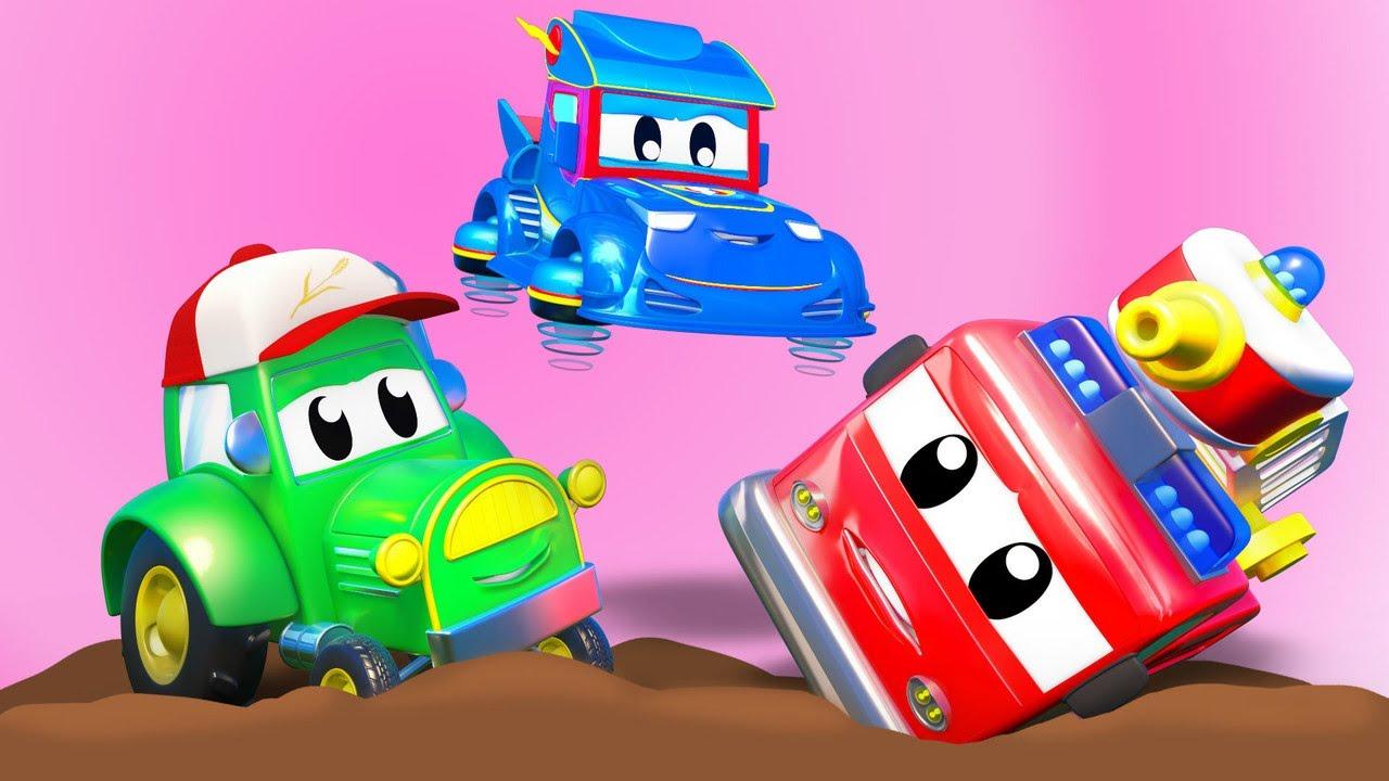 الشاحنة الخارقة !الجرار وشاحنة الإطفاء عالقان في الوحل الشاحنة الخارقة - تطبيق عالم مدينة السيارات