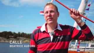 Två trasiga segel ombord på Beatrice Aurore