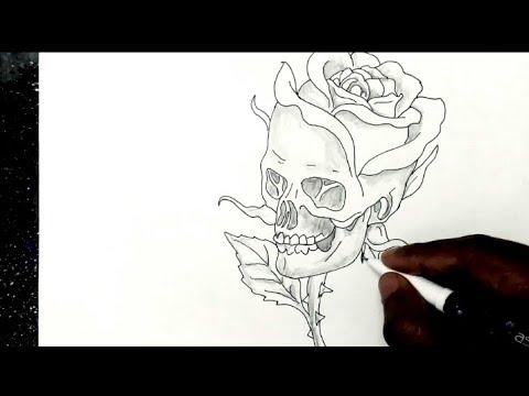 how to draw skull art    rose art skull