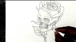 how to draw skull art || rose art skull