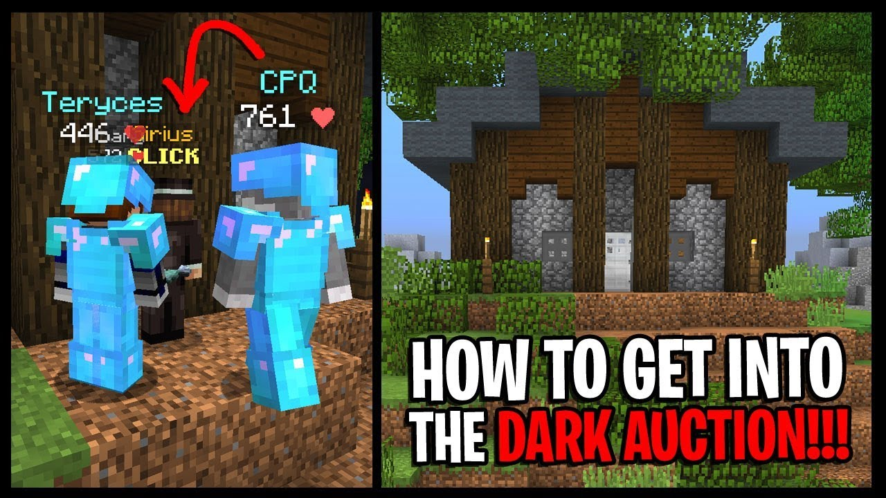 How To Get Into The Dark Auction On Hypixel Skyblock Dark Auction Spawn Times Youtube