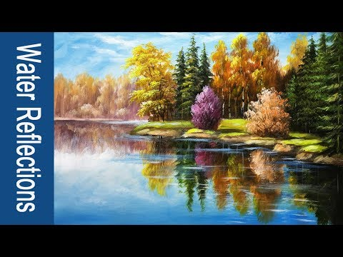 -Paint water and reflections in Acrylics  – PART 2