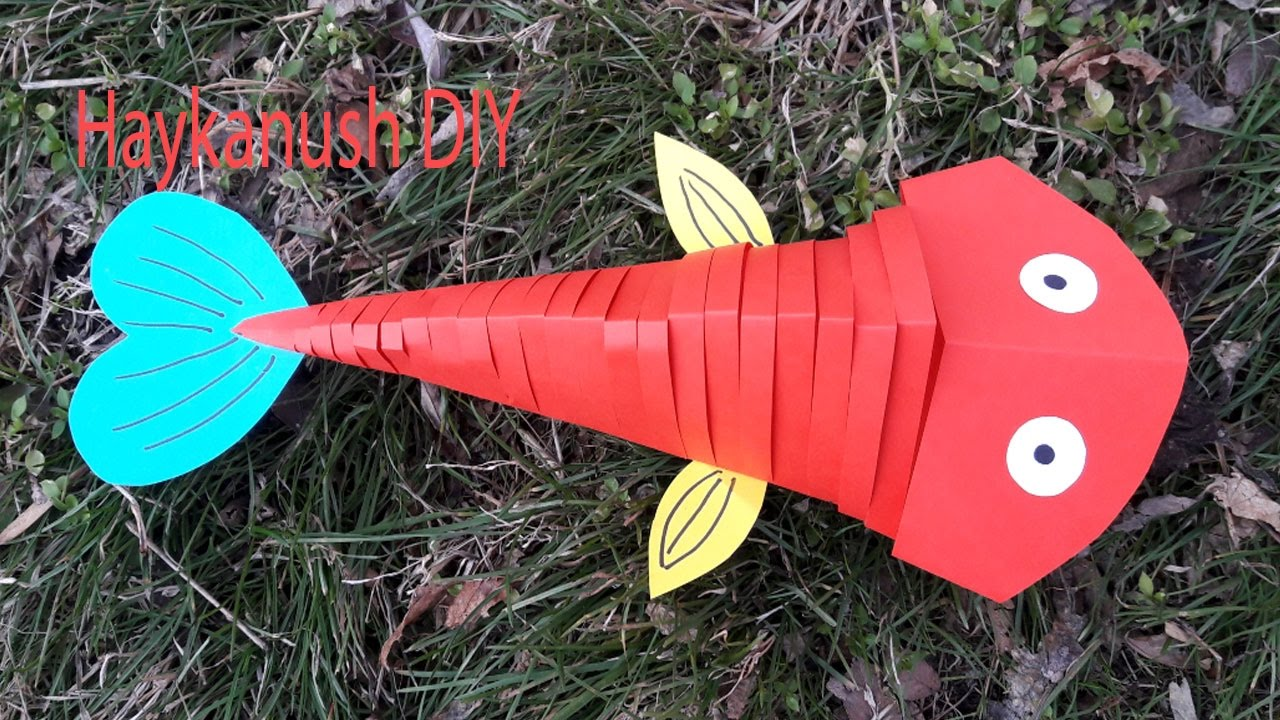 diy how to make moving fish paper easy craft youtube