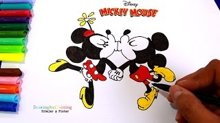 Drawing Mickey Mouse Minnie Kissing Cartoons Disney Shorts | Dibujando Beso de Mickey y Minnie Mouse