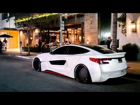 Will.i.am's Insane Custom Wide Body Tesla S in Beverly Hills