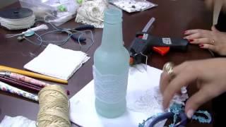 Garrafa de vidro com decoração Shabby Chic – PT2 – Camila Claro de Carvalho