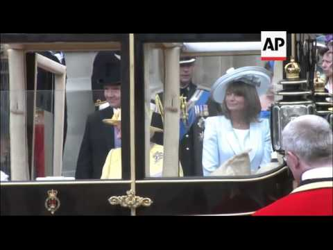 The Queen and Prince Philip, Charles and Camilla and the Middletons depart in carriages from Westmin