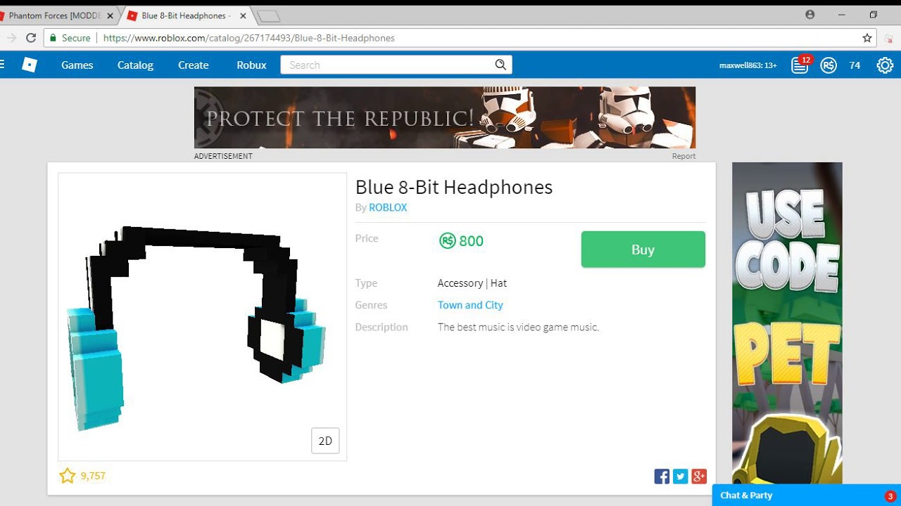 Buying The Blue 8 Bit Headphones In Roblox Youtube