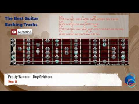 Pretty Woman - Roy Orbison Guitar Backing Track with scale, chords and lyrics