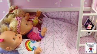 PIJAMADA DE AMIGAS Bebés NENUCO HERMANITAS TRAVIESAS y CUCA Preparo Mochila Ladybug