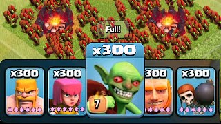 Clash Of Clans - 300 LVL 7 GOBLINS VS. TH11 !!! NEW UPDATE!! (Mass Goblin Raids)