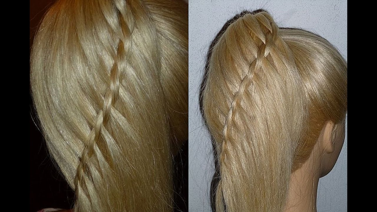 waterfall braid ponytail.quick
