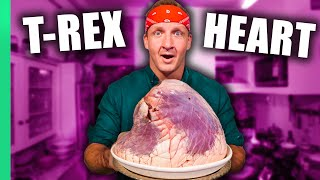 Massive DINO HEART!! Eating ONLY Animal Hearts for 24 Hours!! (Amazing Cooking Skills!!)