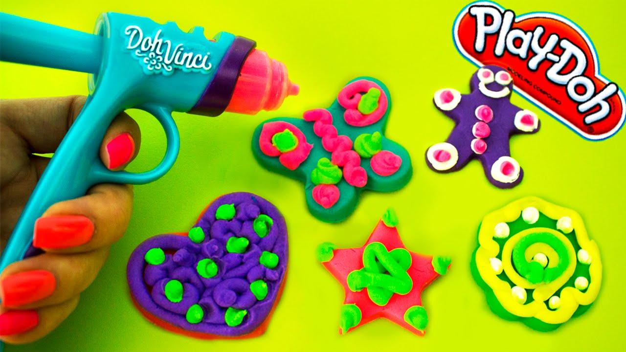 Playdoh Dohvinci Diy Gingerbread Man Cookies Christmas Holiday Ornaments  Toy Playdoh Vinci  Youtube