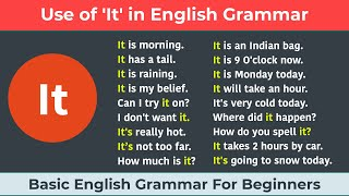 Use of It in English Grammar    Basic English Grammar for Beginners    How do we use it?