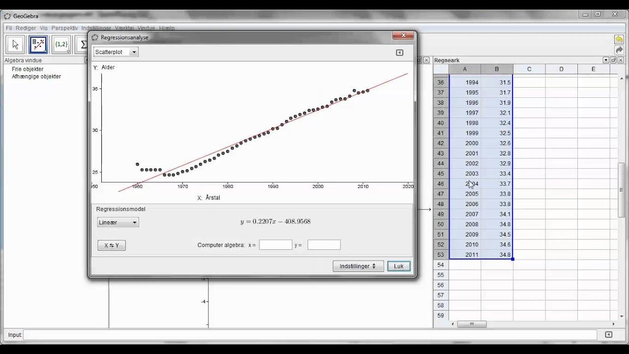Matematiske modeller med regressionsanalyse