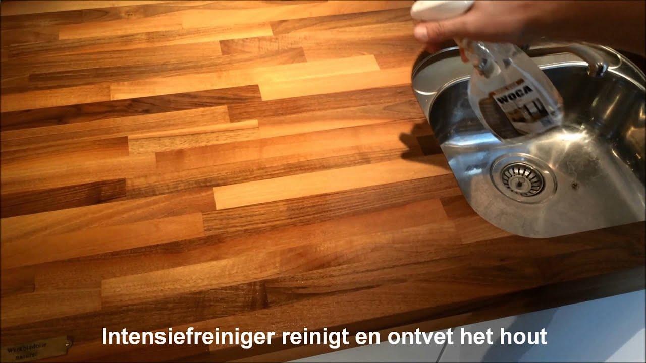 Onderhoud Notenhouten Tafel : Woca onderhoud van houten werkbladen youtube