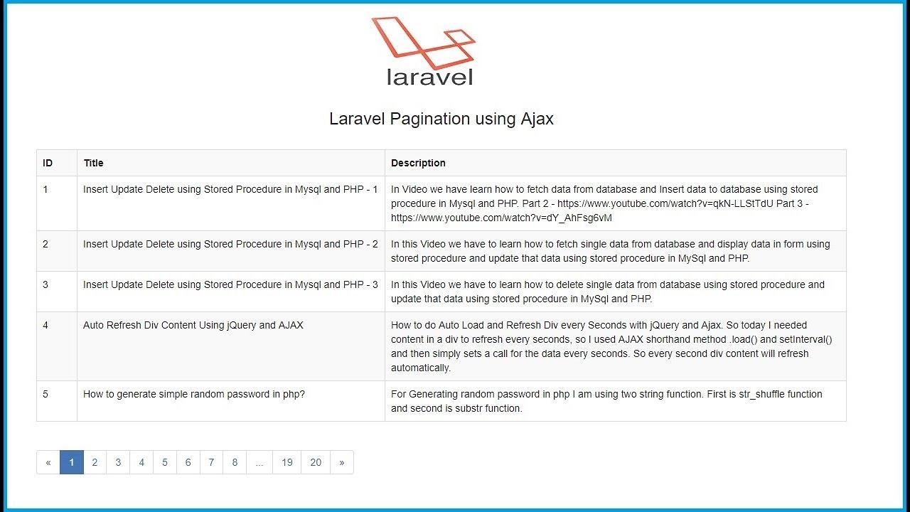 Laravel Pagination using Ajax | Webslesson