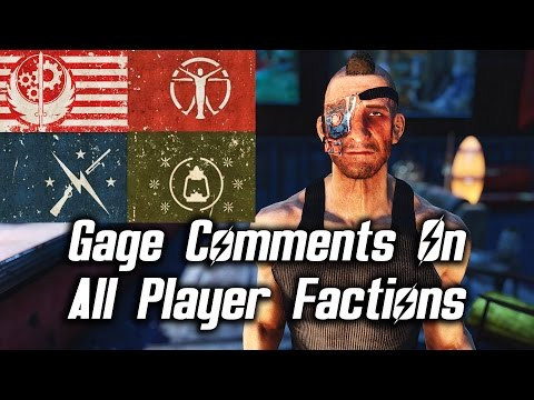 Fallout 4 Nuka-World DLC - Gage Comments On All Player Factions (Railroad/BoS/Minutemen/Institute)