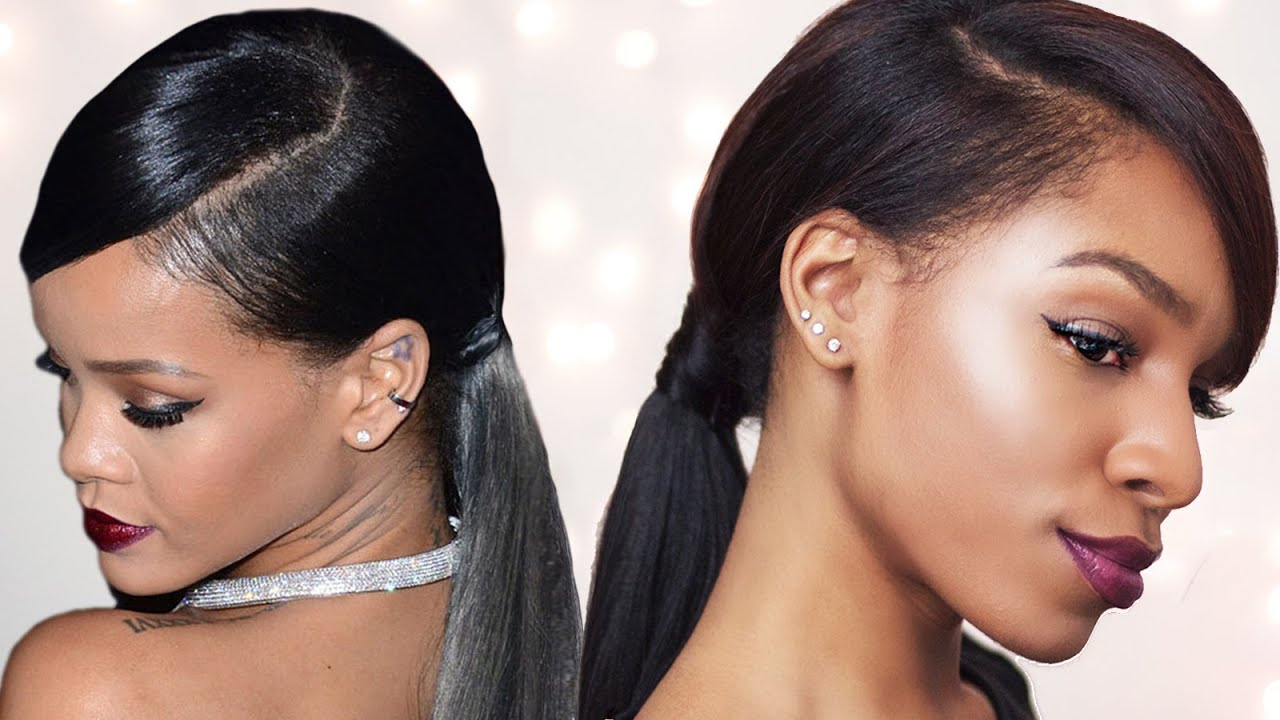 rihanna inspired swoop ponytail