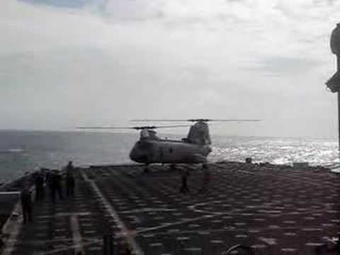helicopter lands on deck