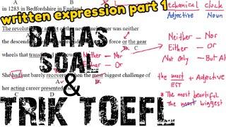 Pembahasan soal toefl written expression (Part 1) - cara cepat jawab soal toefl
