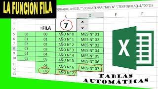 FUNCIÓN FILA EN EXCEL / NUMERACIÓN AUTOMÁTICA 100% - FACIL