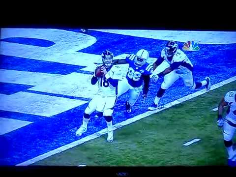 Robert Mathis sack-fumble-saftey on Peyton Manning