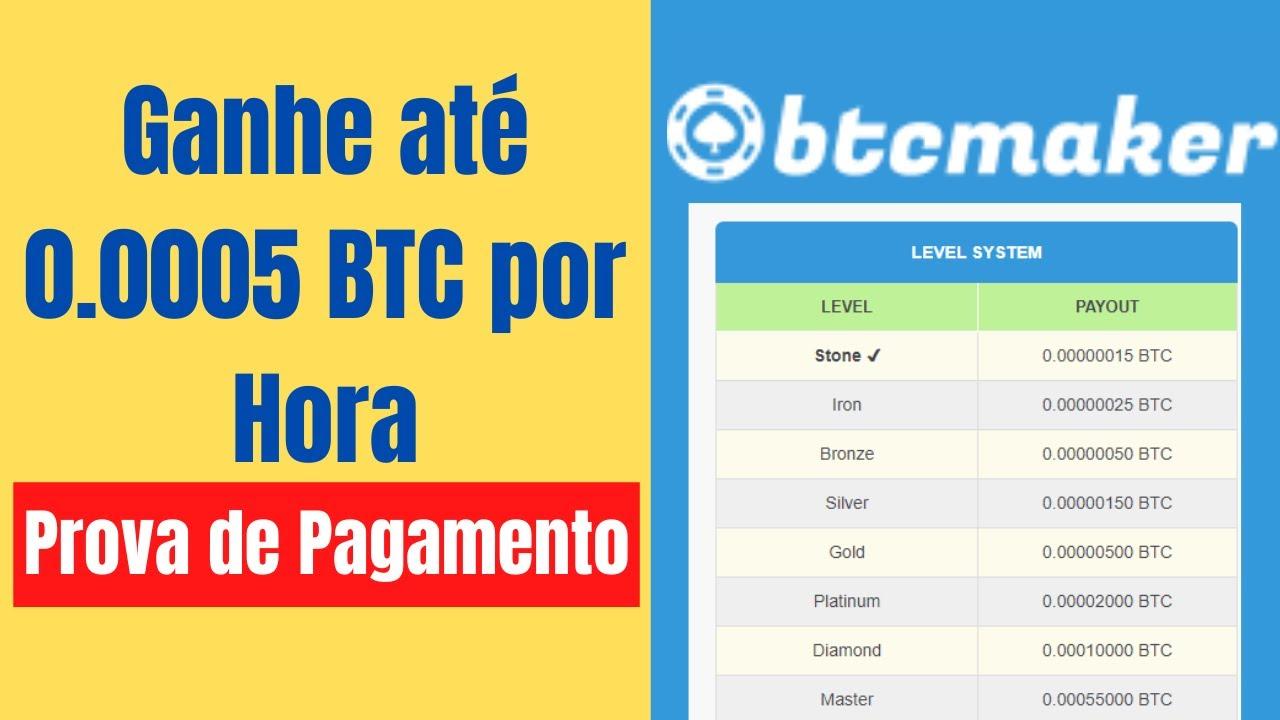 Btcmaker Ganhe Bitcoin a cada 1 Hora  - Prova de Pagamento