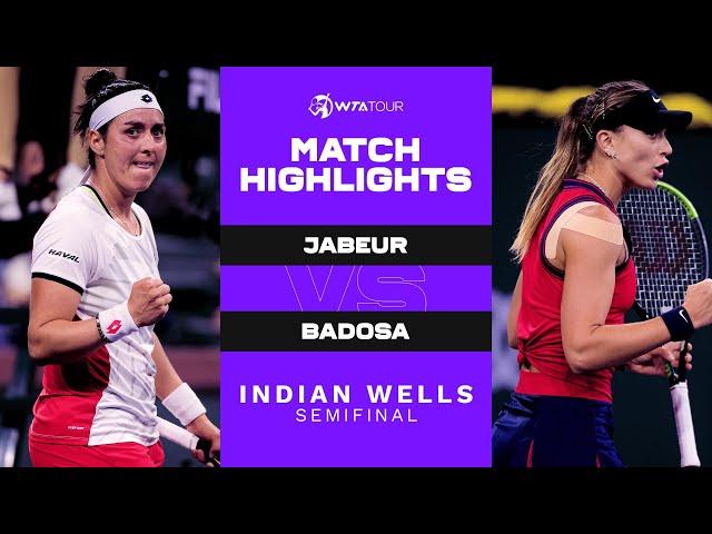 Ons Jabeur vs. Paula Badosa | 2021 Indian Wells Semifinal | WTA Match Highlights