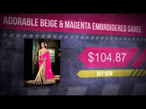 Adorable Beige & Magenta Embroidered Saree
