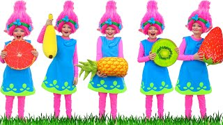Five Little Monkeys Jumping on the Bed   Song for Kids   Fruits